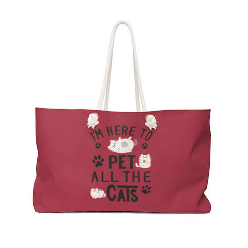 Weekender Bag: Here To Pet All The Cats Bags Printify 24x13