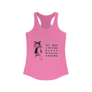 Women's Racerback Tank: All Work And No Play Makes Winston A Dull Boy Tank Top Printify Solid Hot Pink XS