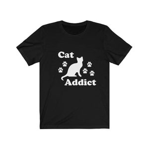 T-Shirt: Cat Addict T-Shirt Printify Black XS