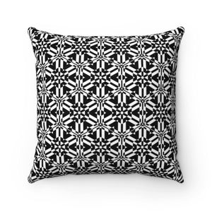 "Black and White Abstract Pattern Faux Suede Square Pillow Home Decor Printify 14"" x 14"""