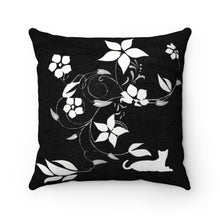 "Load image into Gallery viewer, Faux Suede Square Pillow: Flower Cat Home Decor Printify 14"" x 14"""
