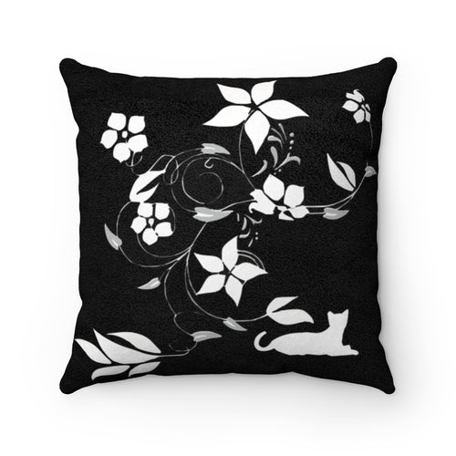 Faux Suede Square Pillow: Flower Cat Home Decor Printify 14