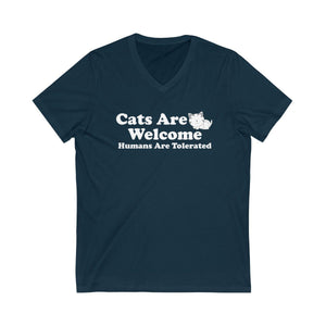 V-Neck T-Shirt: Cat Are Welcome Humans Are Tolerated V-neck Printify Navy XS