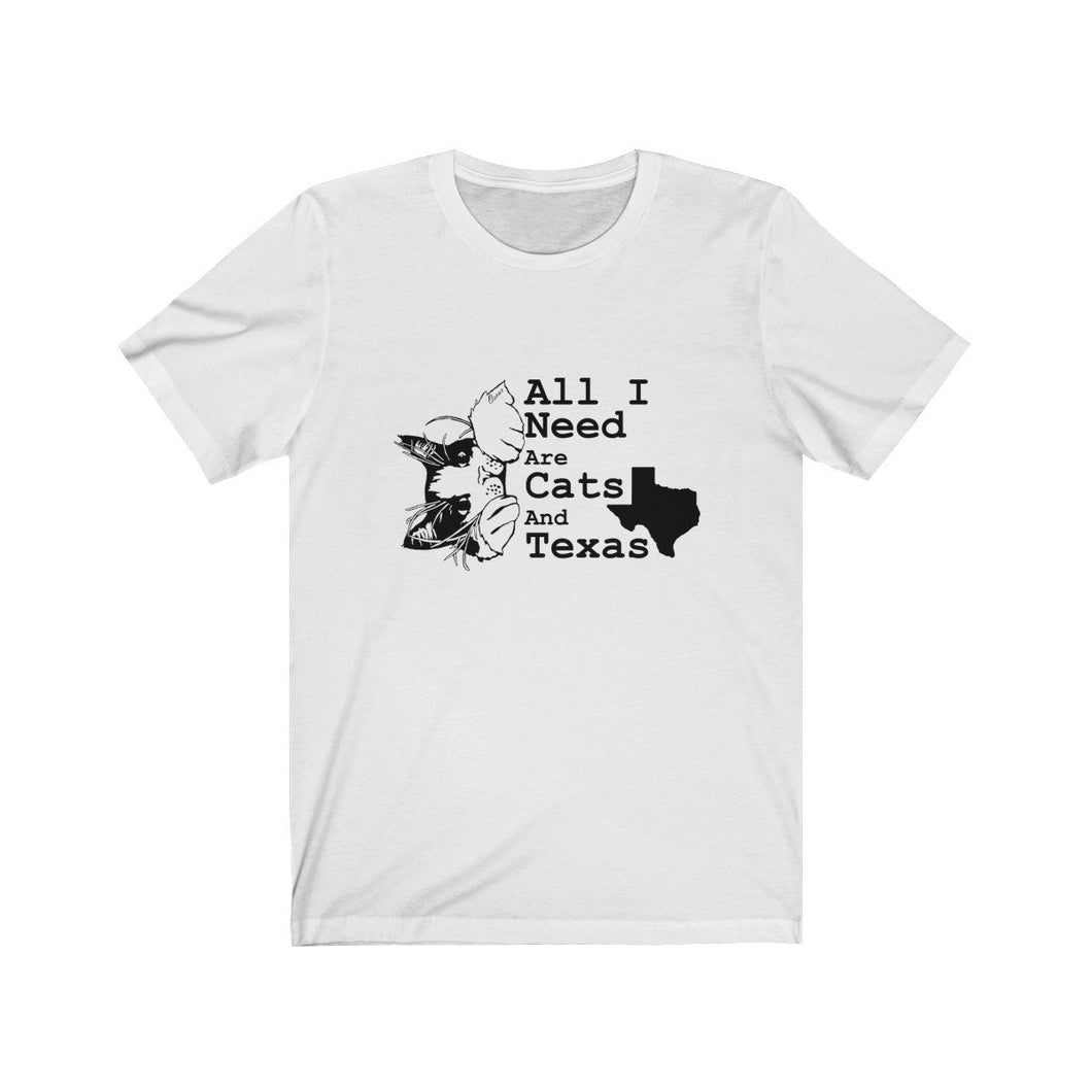 T-Shirt: All I Need Are Cats And Texas T-Shirt Printify White L