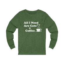 Load image into Gallery viewer, Long Sleeve T-Shirt: All I Need Are Cats & Coffee Long-sleeve Printify Heather Forest S