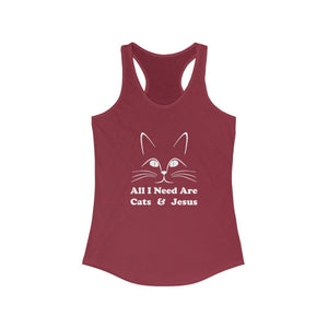 Women's Racerback Tank: All I Need Are Cats & Jesus Tank Top Printify Solid Scarlet XS