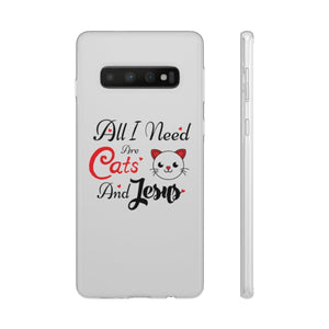 Flexi iPhone & Galaxy Phone Cases: All I Need Are Cats & Jesus Phone Case Printify Samsung Galaxy S10