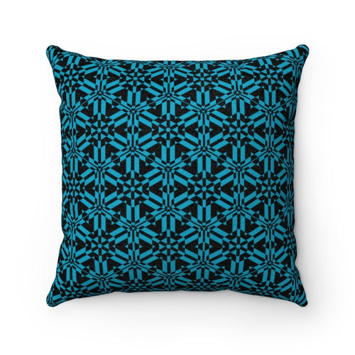 Blue Abstract Pattern Faux Suede Square Pillow Home Decor Printify 14