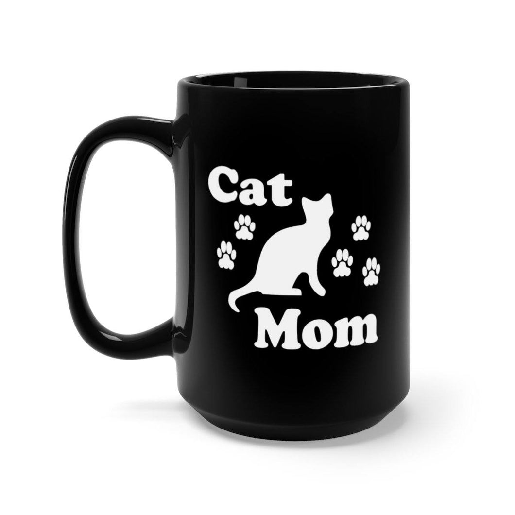 Black Coffee Mug 15oz: Cat Mom Mug Printify 15oz
