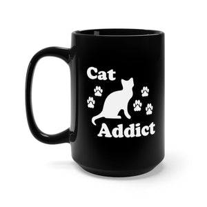 Black Coffee Mug 15oz: Cat Addict Mug Printify 15oz