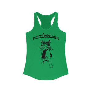 Women's Ideal Racerback Tank: Purrrfessional Tank Top Printify Solid Kelly Green XS