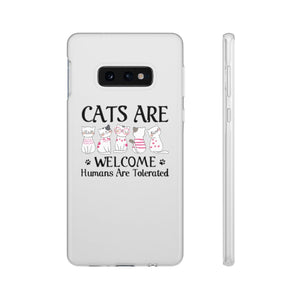 Flexi iPhone & Galaxy Phone Cases: Cats Are Welcome Humans Are Tolerated Phone Case Printify Samsung Galaxy S10E