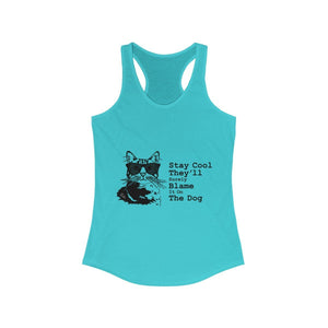 Women's Racerback Tank: Stay Cool They'll Surely Blame It On The Dog Tank Top Printify Solid Tahiti Blue XS