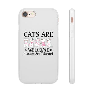 Flexi iPhone & Galaxy Phone Cases: Cats Are Welcome Humans Are Tolerated Phone Case Printify iPhone 8