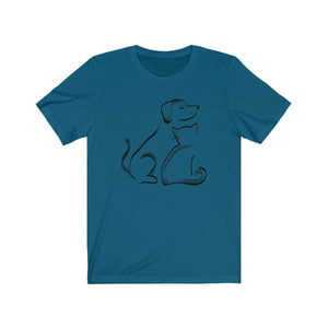 T-Shirt: Cat and Dog T-Shirt Printify Deep Teal XS