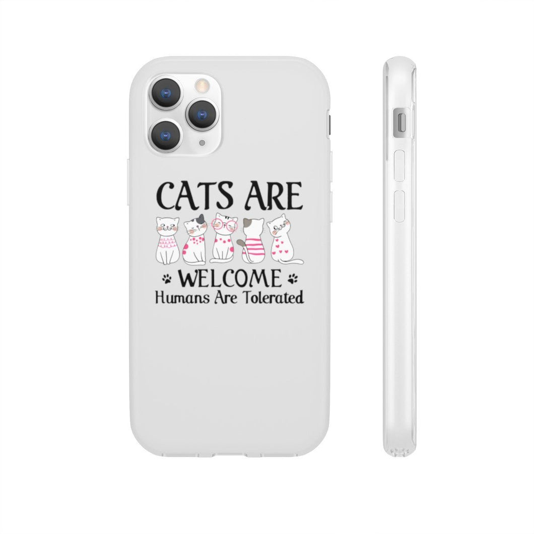 Flexi iPhone & Galaxy Phone Cases: Cats Are Welcome Humans Are Tolerated Phone Case Printify iPhone 11 Pro