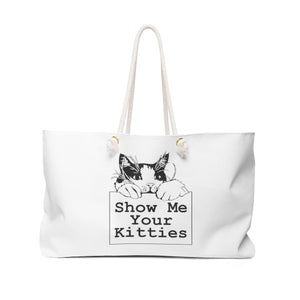 Weekender Bag: Show Me Your Kitties (Multiple Colors) Bags Printify White