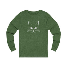 Load image into Gallery viewer, Long Sleeve T-Shirt: Kitty Cat Long-sleeve Printify Heather Forest S
