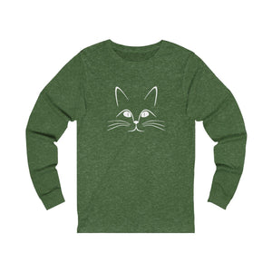 Long Sleeve T-Shirt: Kitty Cat Long-sleeve Printify Heather Forest S