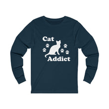 Load image into Gallery viewer, Long Sleeve T-Shirt: Cat Addict Long-sleeve Printify Navy S