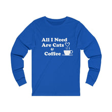 Load image into Gallery viewer, Long Sleeve T-Shirt: All I Need Are Cats & Coffee Long-sleeve Printify True Royal S