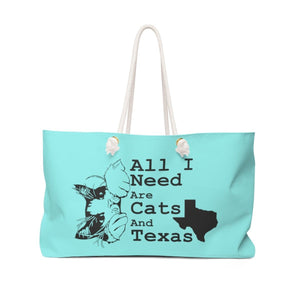 Weekender Bag: All I Need Are Cats And Texas (Multiple Colors) Bags Printify Aqua