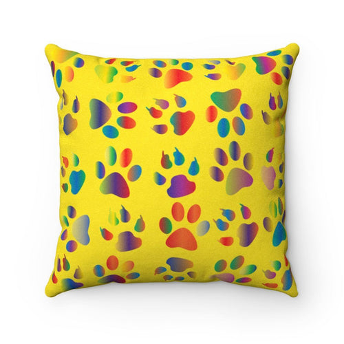 Faux Suede Square Pillow: Kitty Paws Yellow Home Decor Printify 14