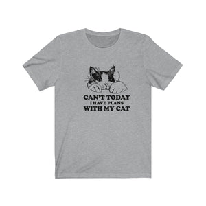 T-Shirt: Can't Today I Have Plans With My Cat T-Shirt Printify Athletic Heather L