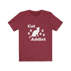 T-Shirt: Cat Addict T-Shirt Printify Cardinal XS