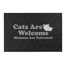 "Load image into Gallery viewer, 36x24 Indoor/Outdoor Floor Mat: Cats Are Welcome Humans Are Tolerated Home Decor Printify 36"" x 24"""