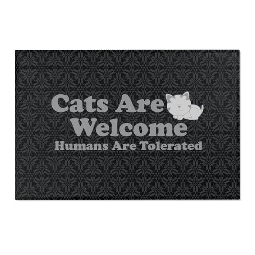 36x24 Indoor/Outdoor Floor Mat: Cats Are Welcome Humans Are Tolerated Home Decor Printify 36