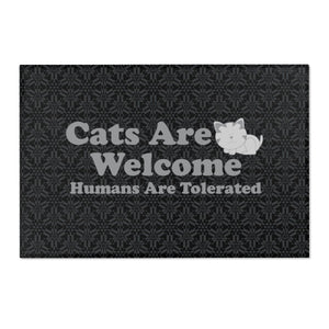 "36x24 Indoor/Outdoor Floor Mat: Cats Are Welcome Humans Are Tolerated Home Decor Printify 36"" x 24"""