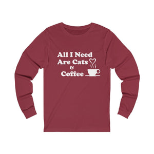 Long Sleeve T-Shirt: All I Need Are Cats & Coffee Long-sleeve Printify Cardinal S