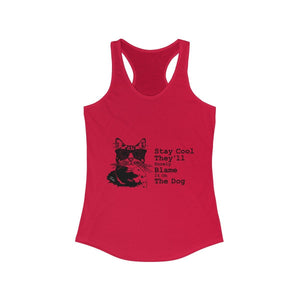 Women's Racerback Tank: Stay Cool They'll Surely Blame It On The Dog Tank Top Printify Solid Red XS