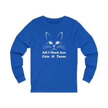 Load image into Gallery viewer, Long Sleeve T-Shirt: All I Need Are Cats & Tacos Long-sleeve Printify True Royal S