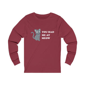 Long Sleeve T-Shirt: You Had Me At Meow Long-sleeve Printify Cardinal S