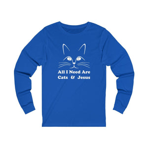 Long Sleeve T-Shirt: All I Need Are Cats & Jesus Long-sleeve Printify True Royal S