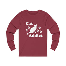 Load image into Gallery viewer, Long Sleeve T-Shirt: Cat Addict Long-sleeve Printify Cardinal S