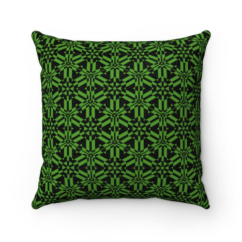 Green Abstract Pattern Faux Suede Square Pillow Home Decor Printify 14