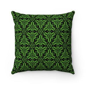 "Green Abstract Pattern Faux Suede Square Pillow Home Decor Printify 14"" x 14"""