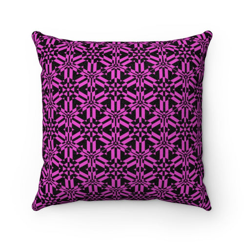 Pink Abstract Pattern Faux Suede Square Pillow Home Decor Printify 14