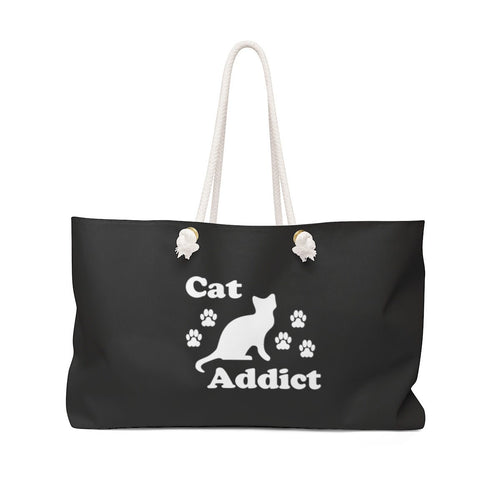 Weekender Bag: Cat Addict Bags Printify 24x13