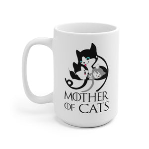 White Coffee Mug 15oz: Mother Of Cats Coffee Mug Mug Printify 15oz