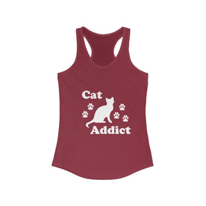 Women's Racerback Tank: Cat Addict Tank Top Printify Solid Scarlet L