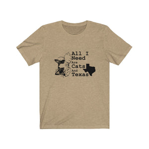 T-Shirt: All I Need Are Cats And Texas T-Shirt Printify Heather Tan XS