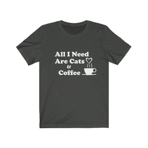 T-Shirt: All I Need Are Cats & Coffee T-Shirt Printify Dark Grey XS