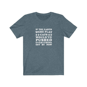T-Shirt: If The Earth Were Flat Cats Would've Pushed Everything Off By Now T-Shirt Printify Heather Slate S