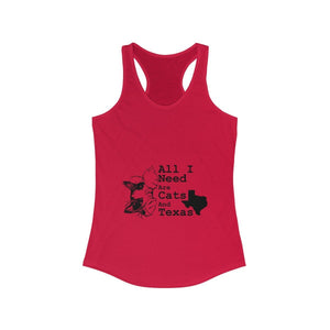Women's Racerback Tank: All I Need Are Cats And Texas Tank Top Printify Solid Red XS