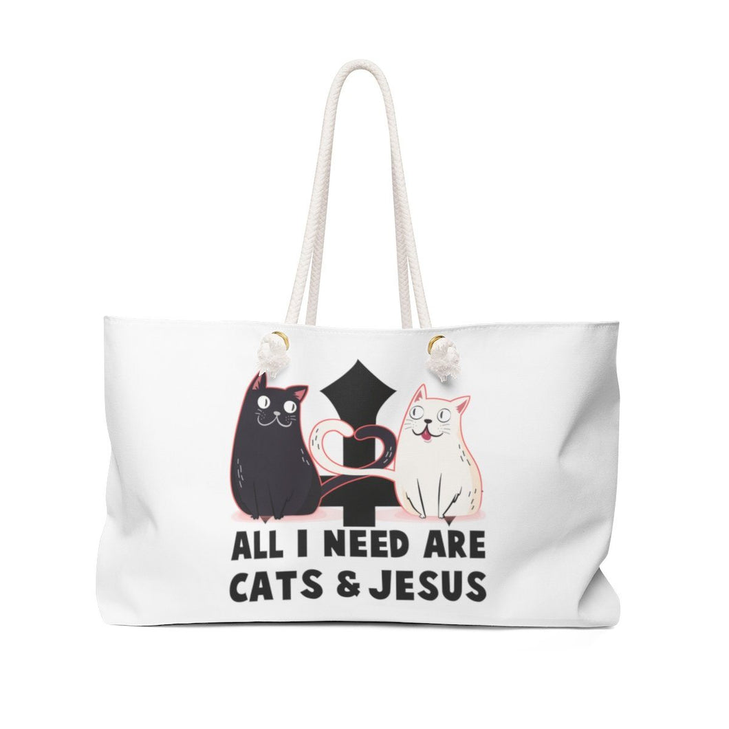 Weekender Bag: All I Need Are Cats & Jesus Bags Printify 24x13
