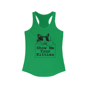 Women's Racerback Tank: Show Me Your Kitties Tank Top Printify Solid Kelly Green XS